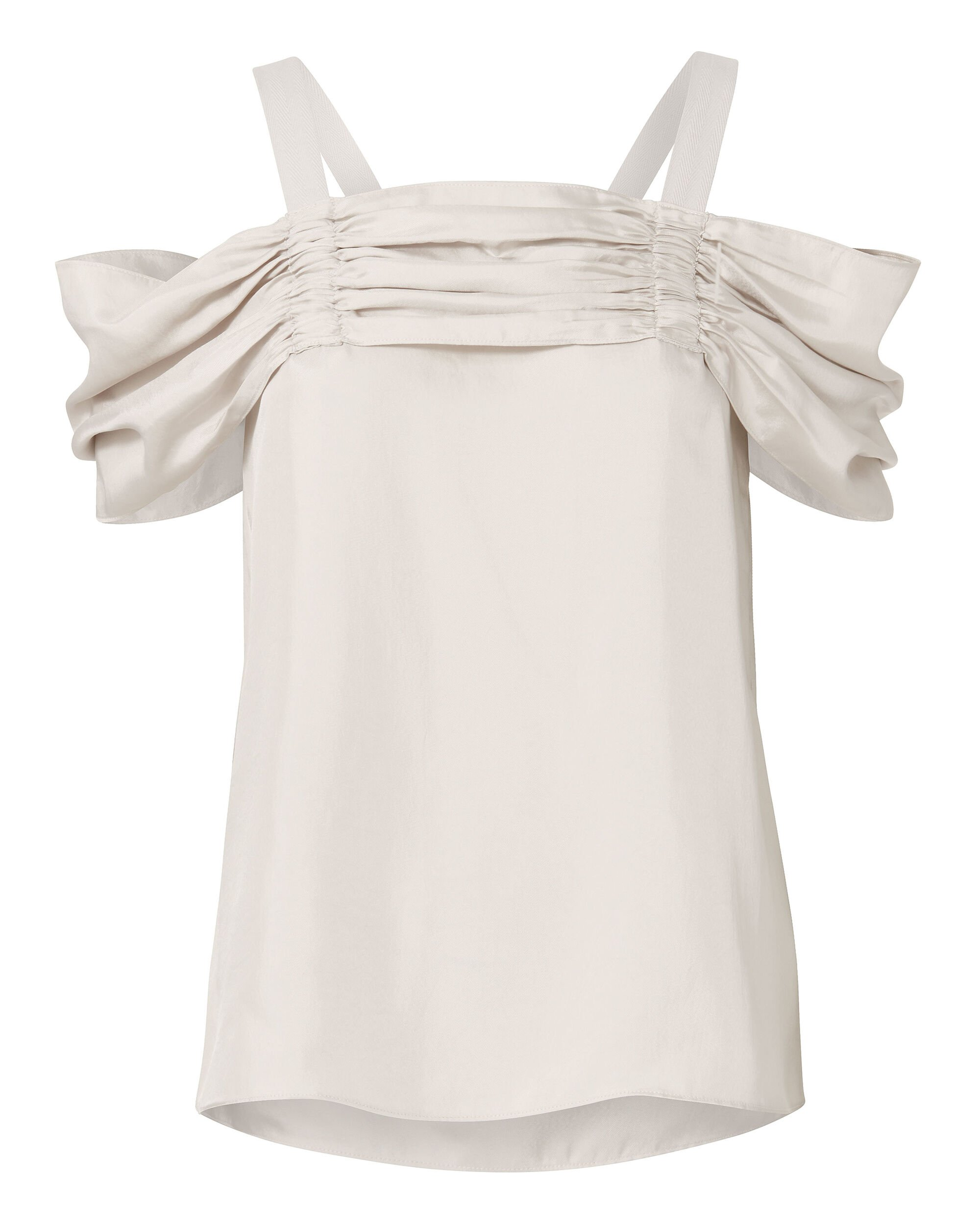 Mendini Satin Twill Cold-Shoulder Top, BEIGE, hi-res