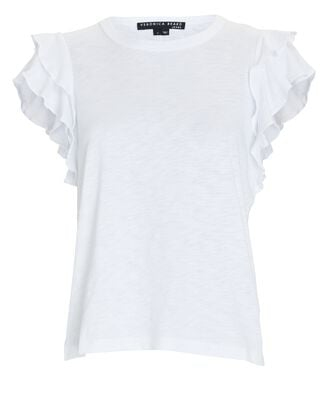 Akeela Ruffled Cotton T-Shirt, WHITE, hi-res