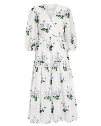 Floral Cotton Wrap Dress, WHITE/FLORAL, hi-res