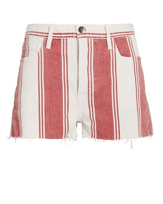 Le Fiery Stripe Cutoff Shorts, RED, hi-res