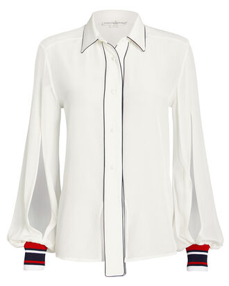 Isako Silk Button Front Blouse, IVORY, hi-res