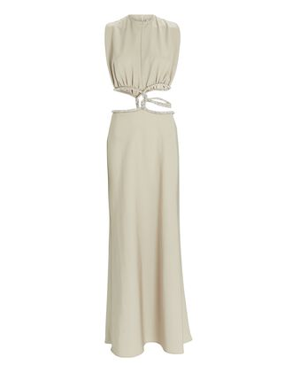 Crystal Interwoven Maxi Dress, BEIGE, hi-res