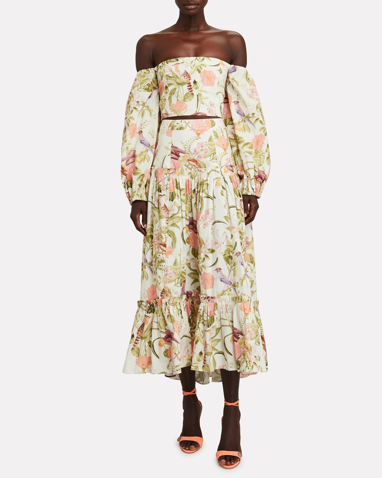Tisbury Floral Midi Skirt, IVORY/LIGHT GREEN, hi-res