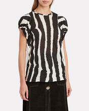 Zebra-Striped Drawstring T-Shirt, BLK/WHT, hi-res