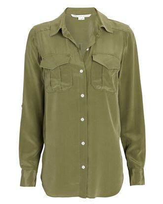 Idrees Silk Button-Down Shirt, OLIVE/ARMY, hi-res