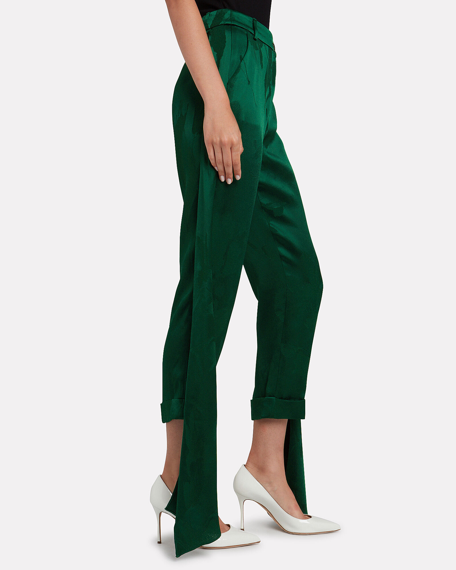 Smythe Satin Jacquard Pants, EMERALD, hi-res