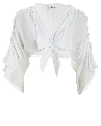 Kissa Tie-Accented Cotton Blouse, WHITE, hi-res