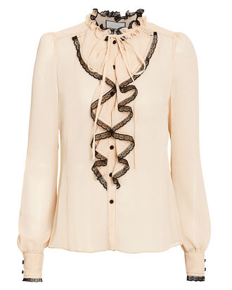 Ximena Ruffle Top, BEIGE/BLACK, hi-res