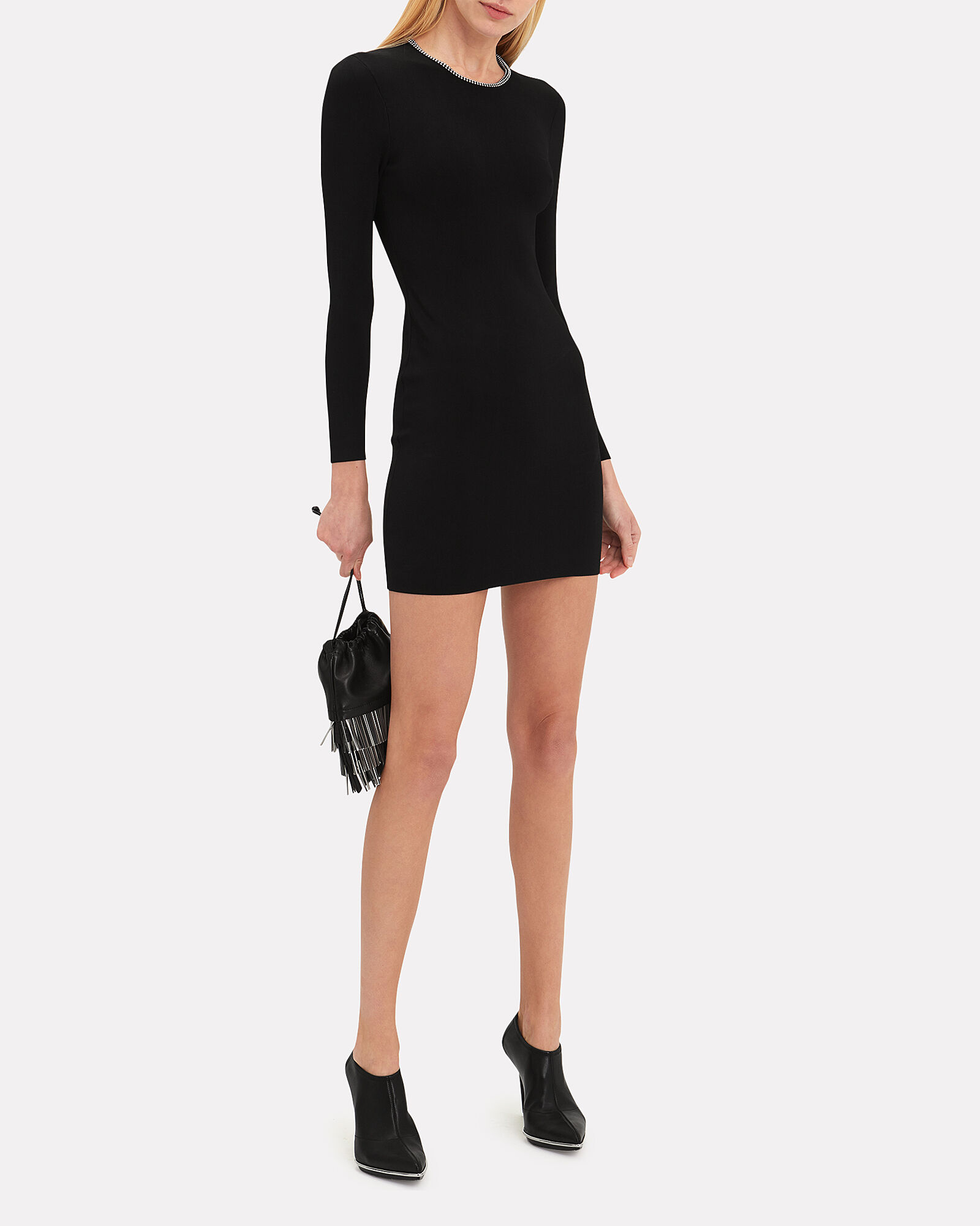 Ball Chain Black Mini Dress, BLACK, hi-res