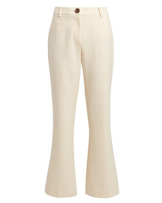 Maeve Cropped Flare Wool Pants, IVORY, hi-res