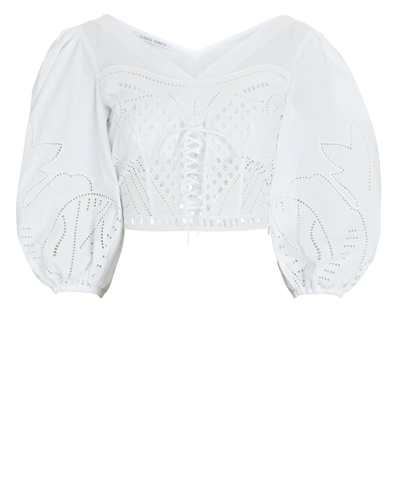 Embroidered Muslin Puff Sleeve Blouse, WHITE, hi-res