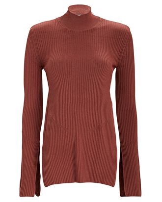 Peli Open Back Turtleneck Top, BROWN, hi-res