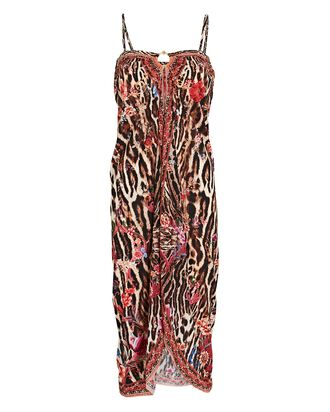 Leopard Printed Sarong Dress, RED/BLACK/BEIGE, hi-res