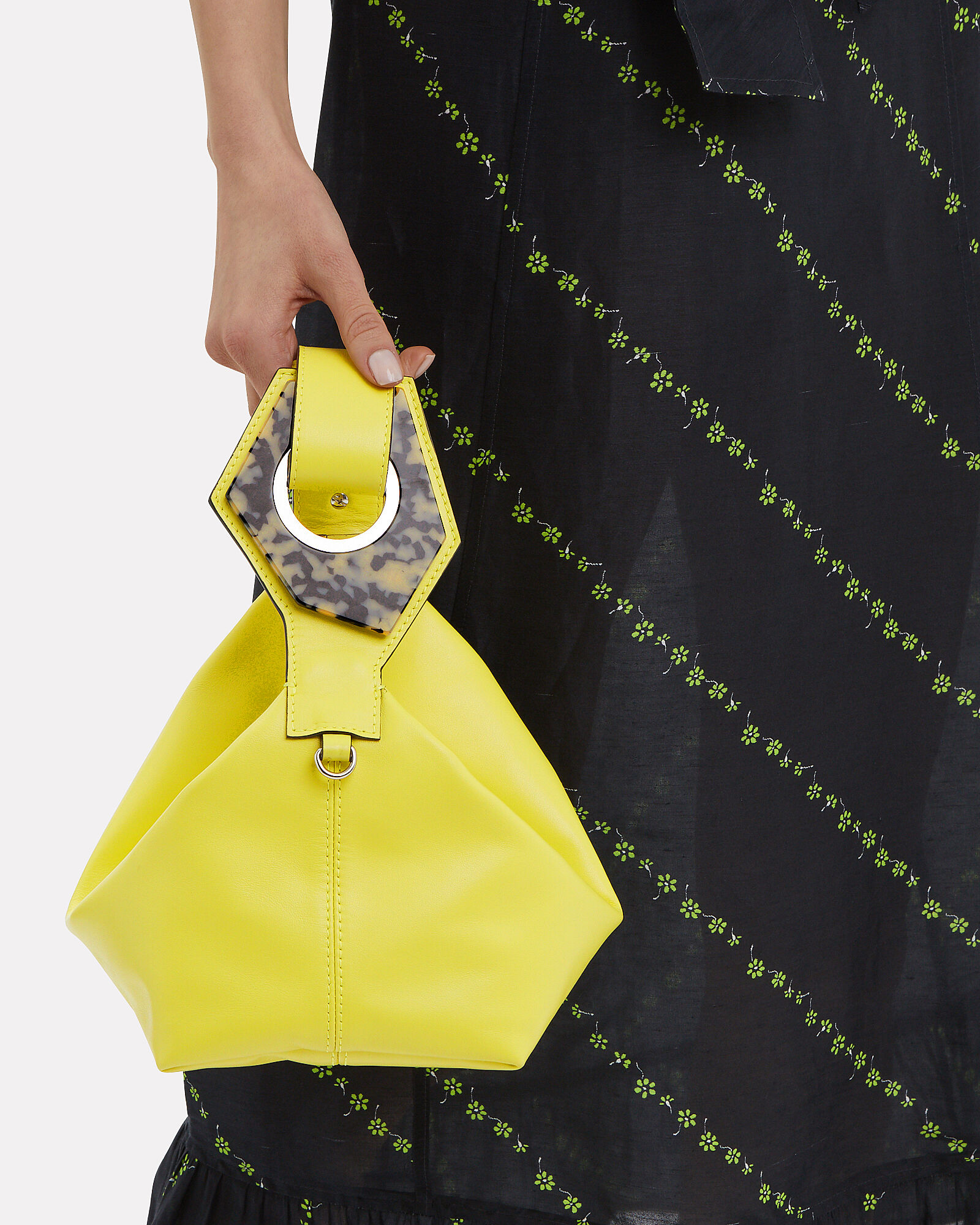 Yellow Leather Mini Clutch Bag, BRIGHT YELLOW LEATHER, hi-res