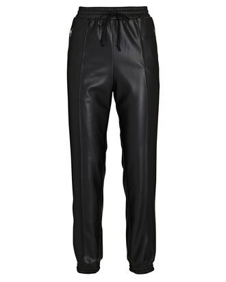 High-Rise Eco Leather Joggers, BLACK, hi-res