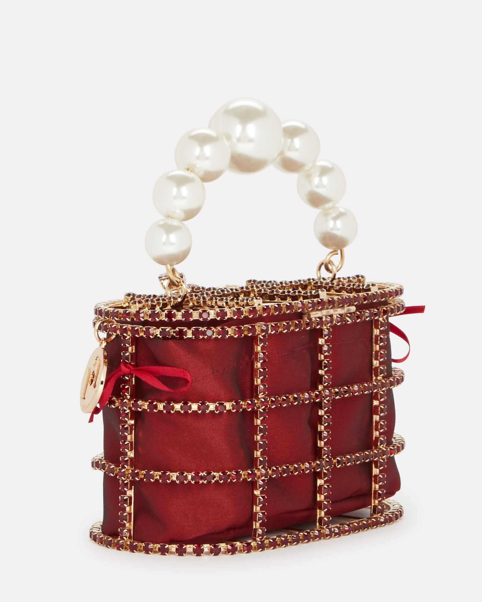 Holli Cage Pearl And Crystal Clutch, RED, hi-res