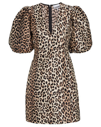 Leopard Puff Sleeve Mini Dress, BEIGE/BLACK, hi-res