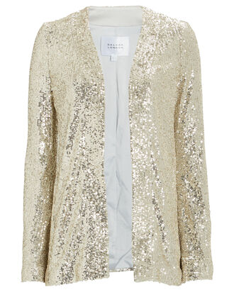 Sahara Sequined Open Front Jacket, GOLD, hi-res