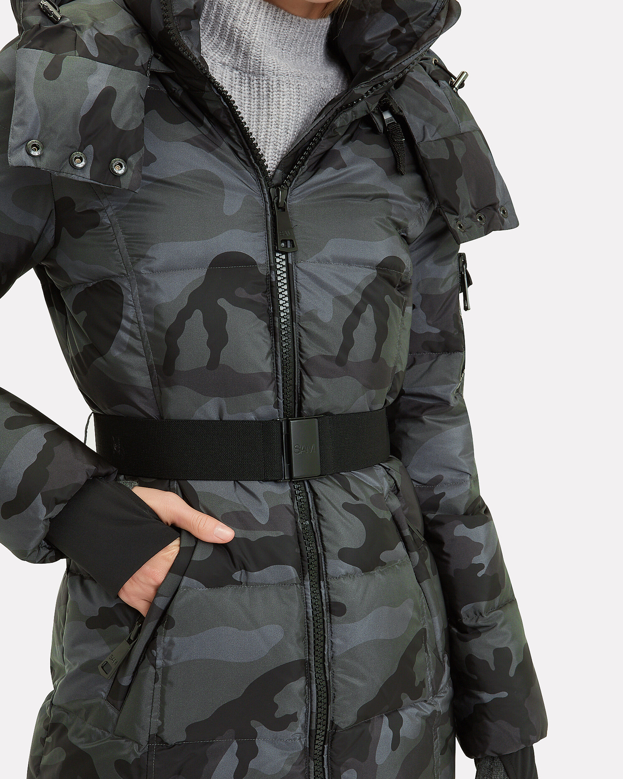 Soho Belted Camo Puffer Jacket, GREY/CAMO, hi-res
