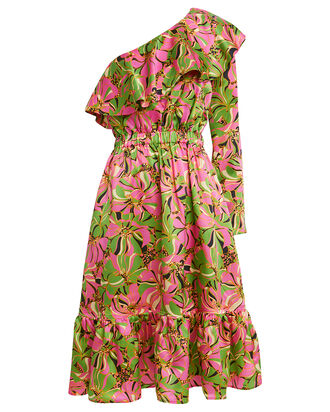 One Shoulder Boogie Dress, PINK/GREEN, hi-res