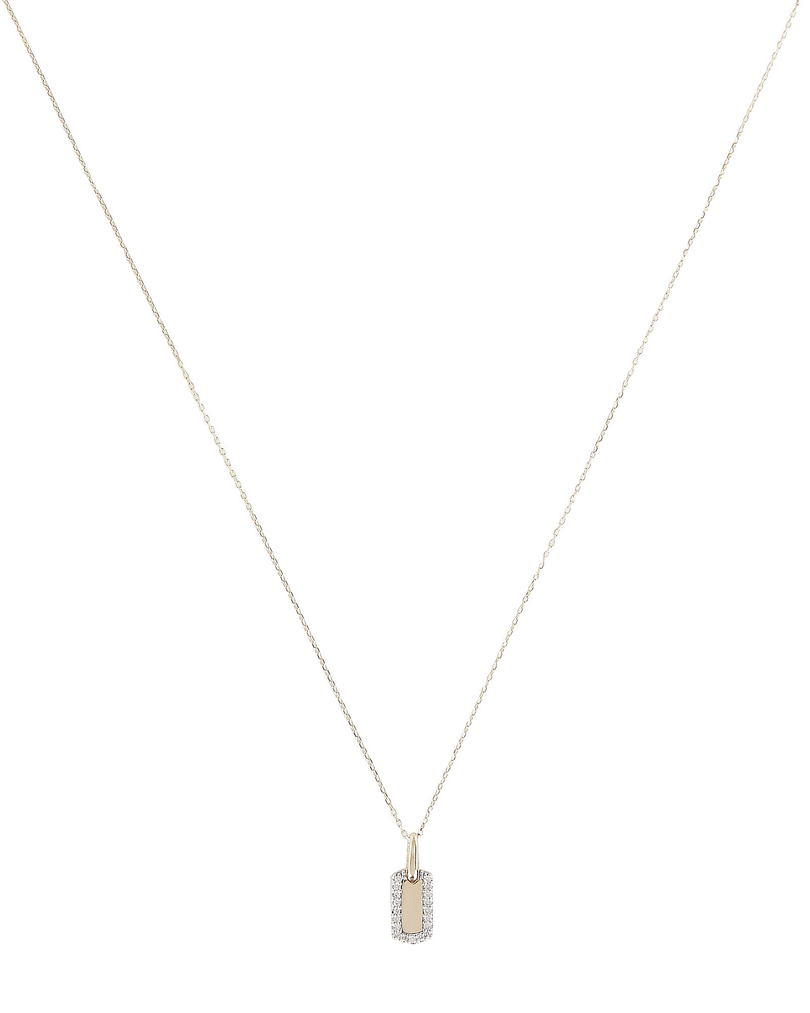 Tiny Pavé Dog Tag Necklace, GOLD, hi-res