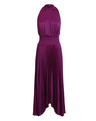 Renzo Orchid Pleated Dress, PURPLE, hi-res