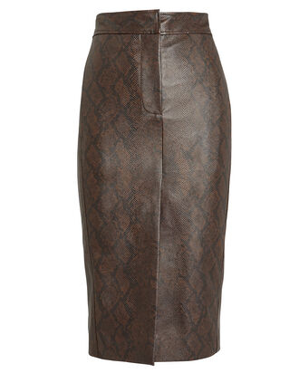 Python Faux Leather Pencil Skirt, BROWN PYTHON PRINT, hi-res