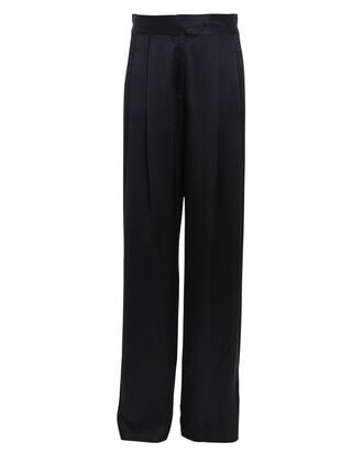 Pleated Silk Charmeuse Trousers, NAVY, hi-res