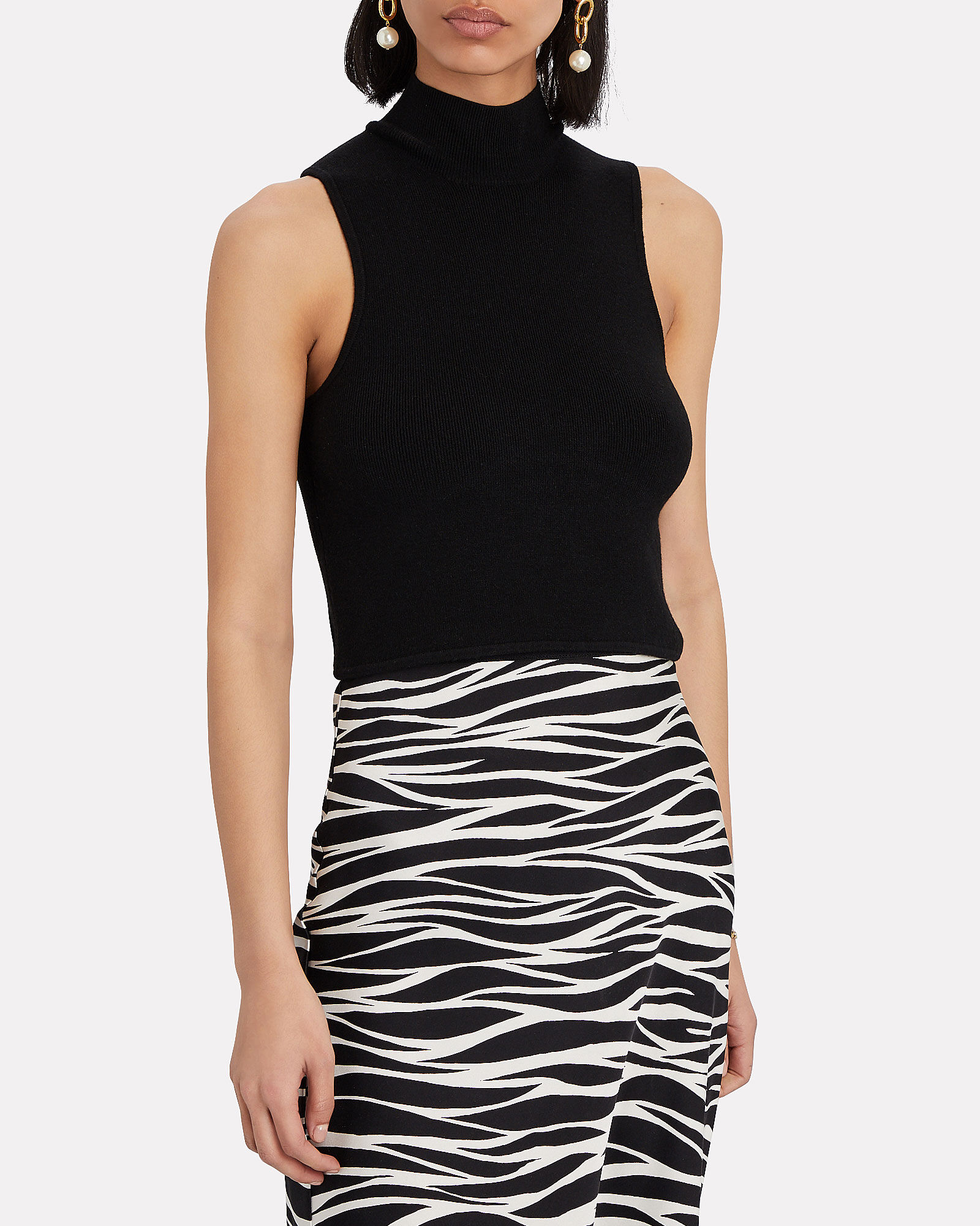 Holly Sleeveless Turtleneck Top, BLACK, hi-res