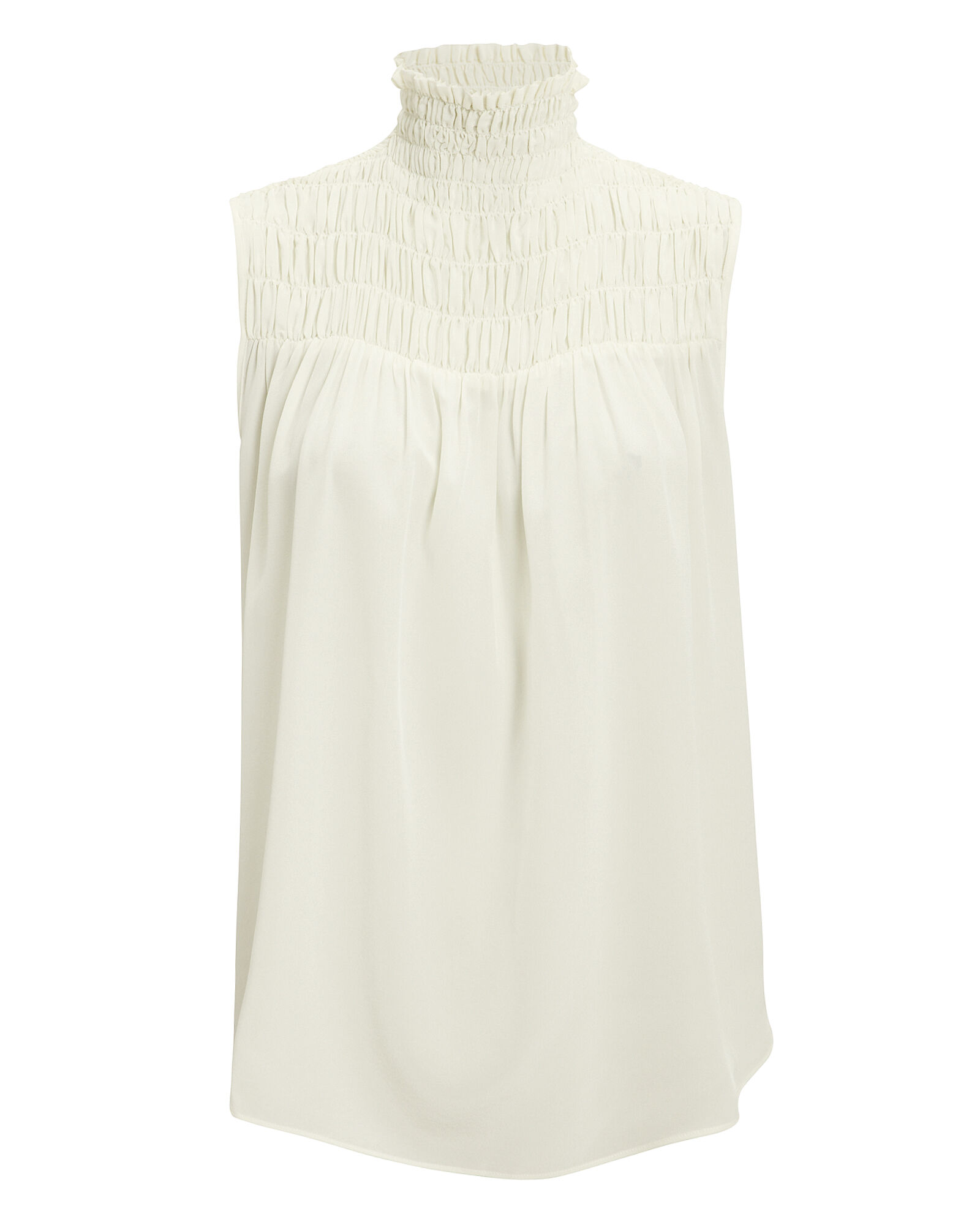Smocked Sleeveless Silk Blouse, IVORY, hi-res