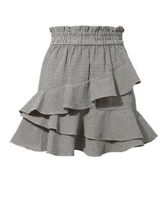 Josie Ruffle Mini Skirt, BLK/WHT, hi-res