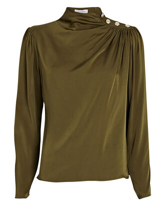 Monica Silk Turtleneck Top, , hi-res