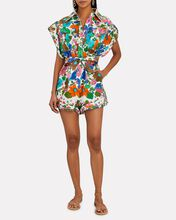 Riders Floral Linen Playsuit, WHITE/GREEN/BROWN, hi-res