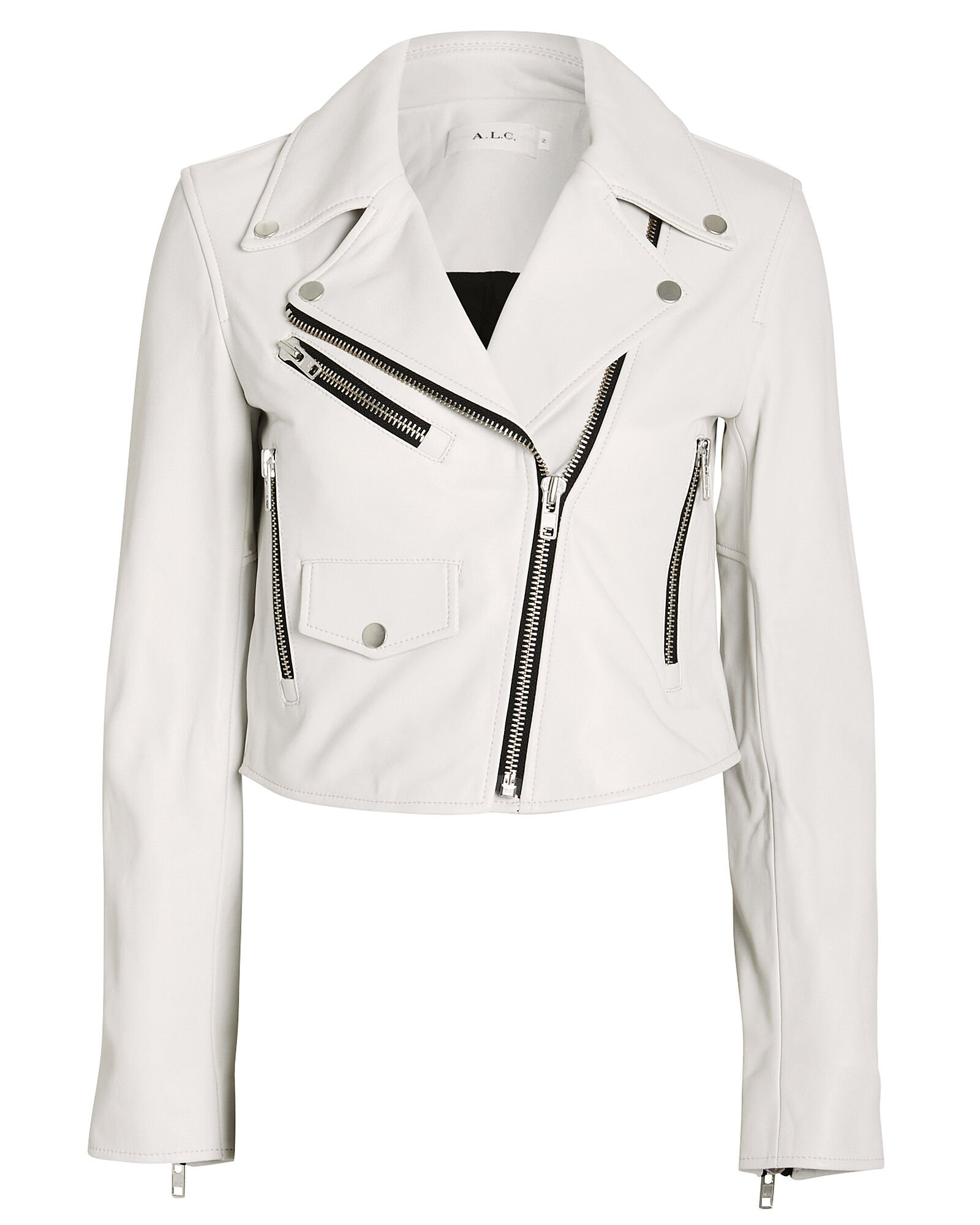 Beck Leather Moto Jacket, WHITE, hi-res