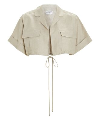 Cropped Safari Poplin Shirt, BEIGE, hi-res