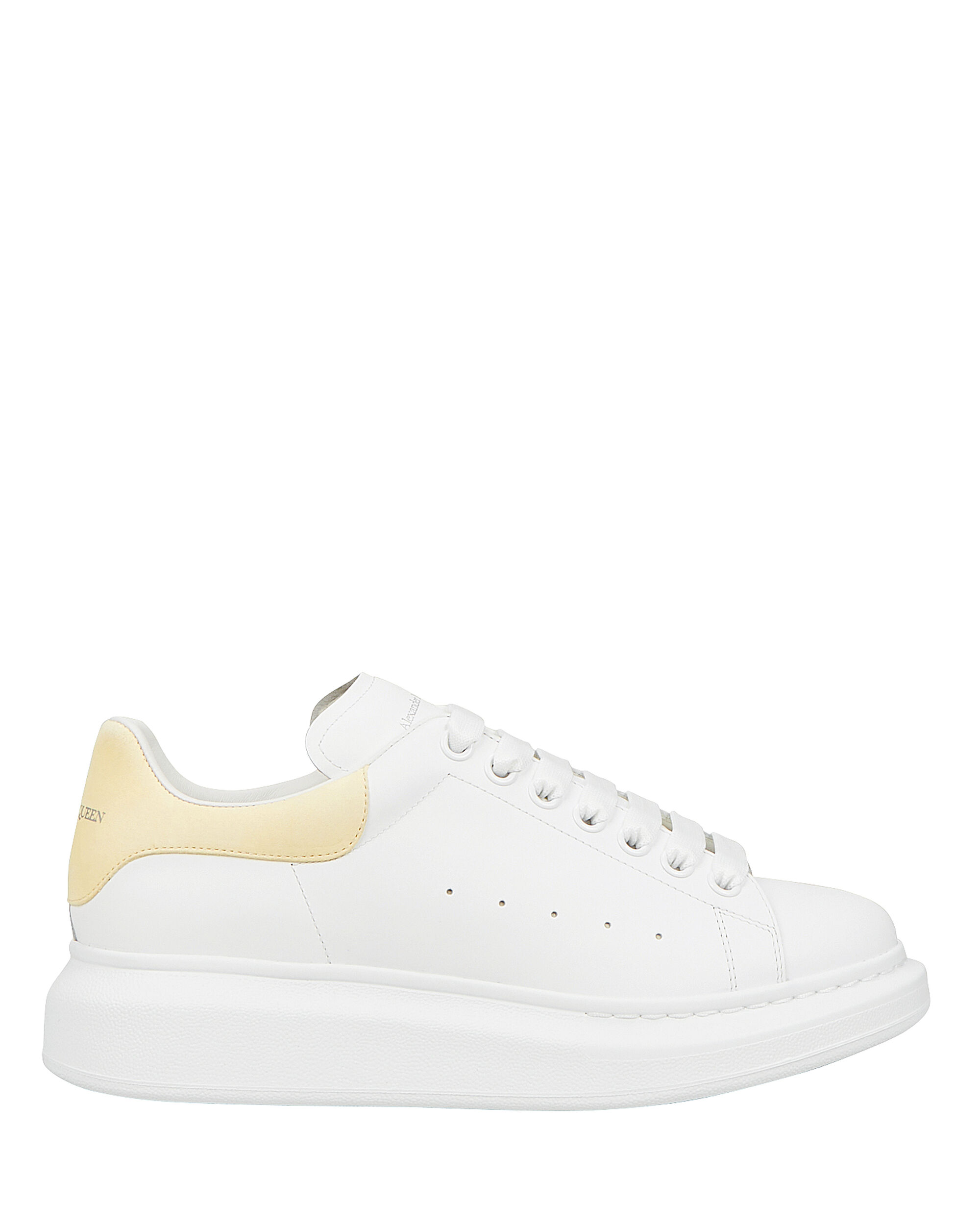 Oversized Leather Sneakers, WHITE/YELLOW, hi-res