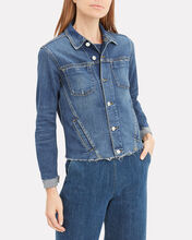 Janelle Cropped Denim Jacket, DARK DENIM, hi-res