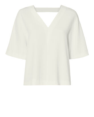 V-Neck Whitewash Top, IVORY, hi-res