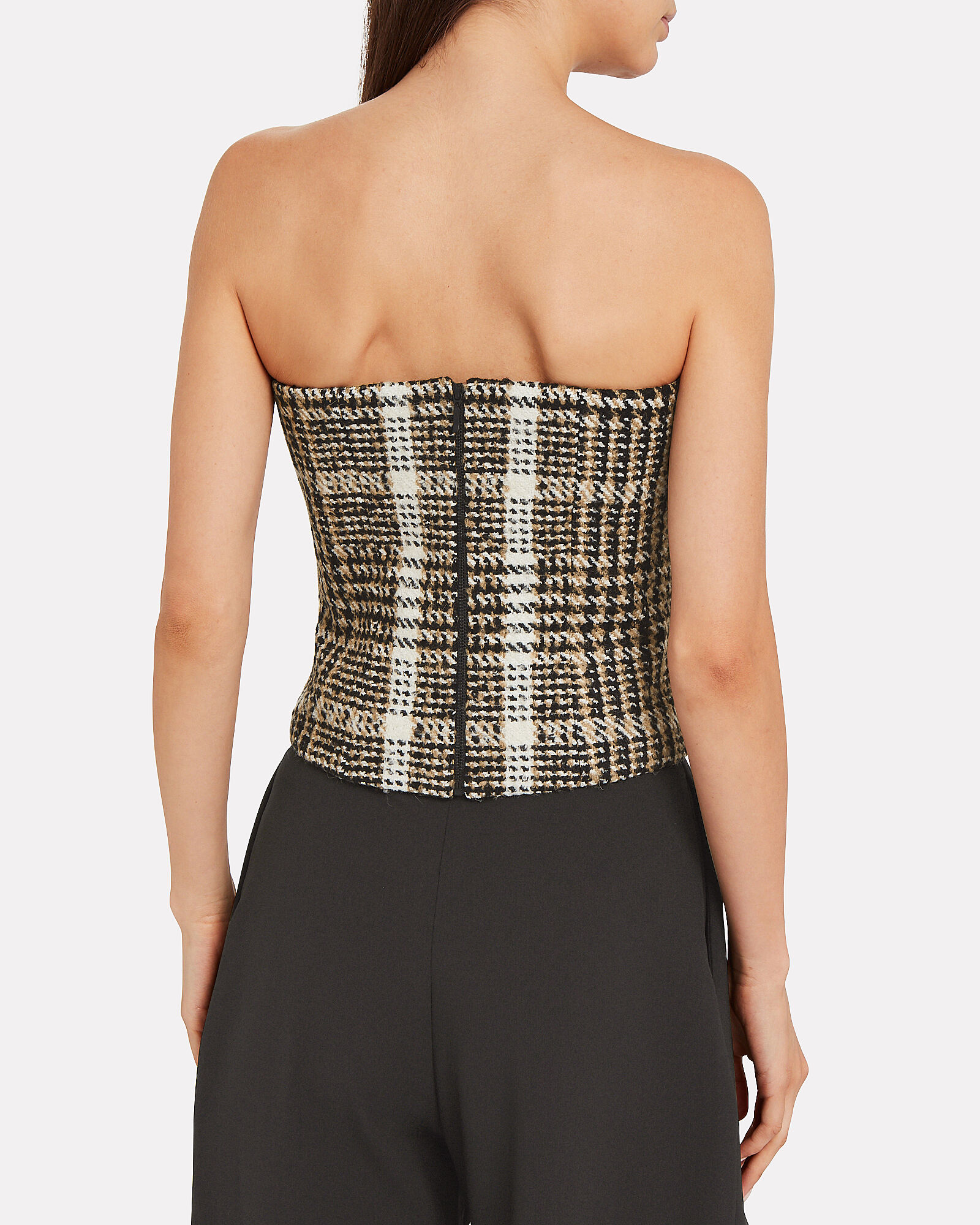 Wool Bouclé Bustier Top, TAUPE/CHECK, hi-res