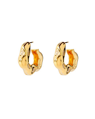 Feminine Waves Pavé Hoops, GOLD, hi-res