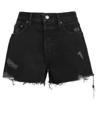 Helena Distressed Denim Shorts, BLACK DENIM, hi-res