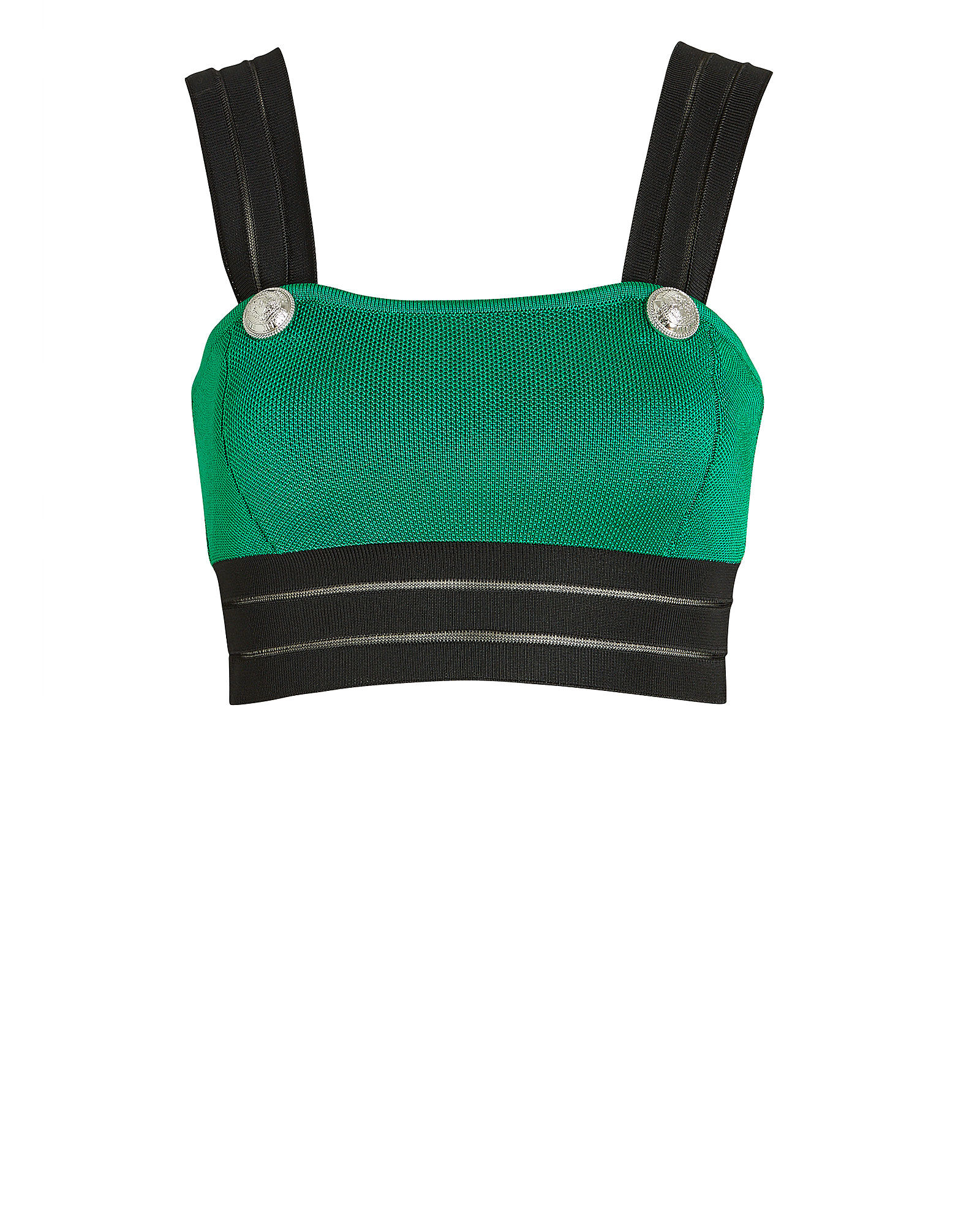 Colorblock Knit Crop Top, GREEN, hi-res
