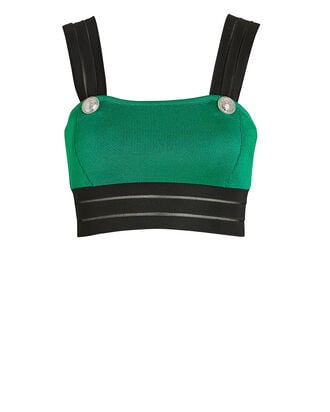 Colorblock Knit Crop Top, GREEN/BLACK, hi-res