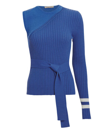 I'm Half Way There Knit Top, ROYAL BLUE/WHITE, hi-res