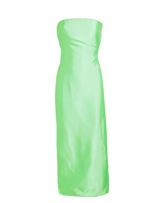 Liquid Satin Column Dress, BRIGHT GREEN, hi-res