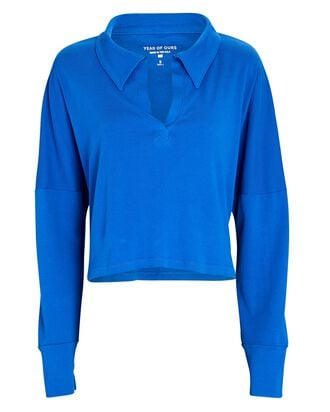 Summer Cotton Rugby Top, BLUE, hi-res