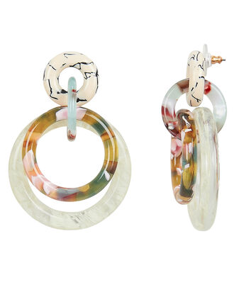 Banded Interlocking Hoop Earrings, IVORY/RAINBOW, hi-res