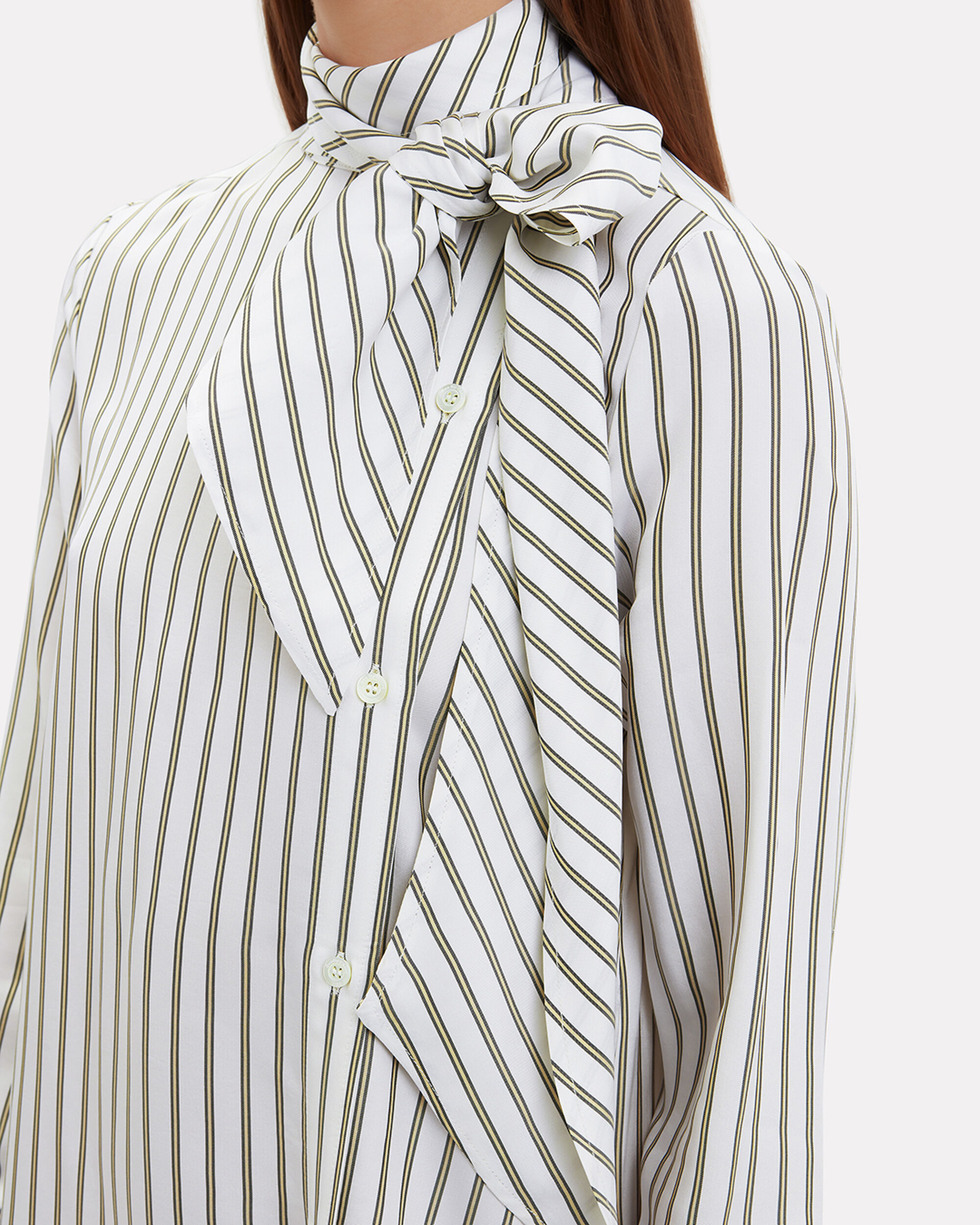 Striped Tie-Neck Midi Dress, BLK/WHT, hi-res
