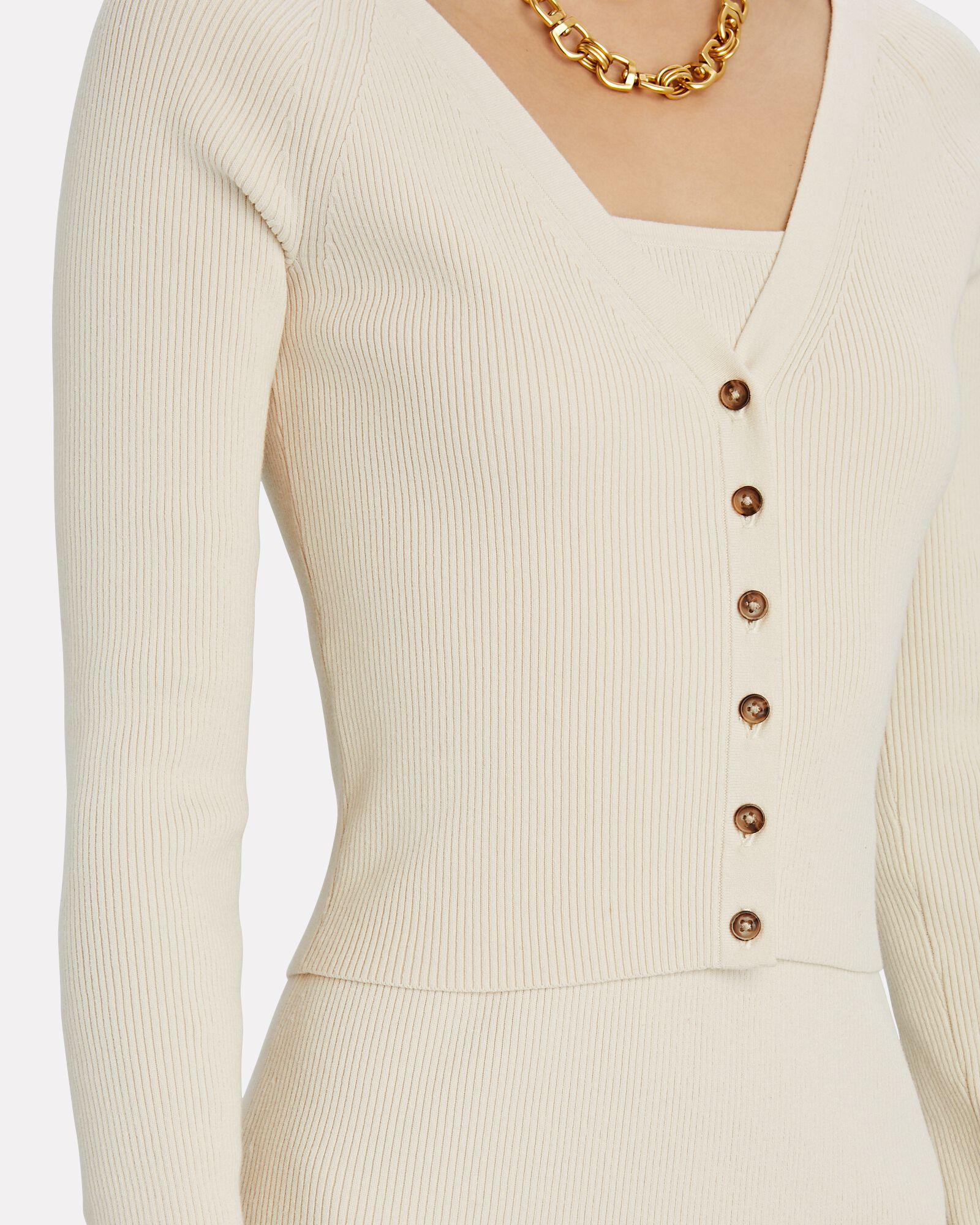 Katrina V-Neck Rib Knit Cardigan, WHITE, hi-res