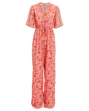 Wide Leg Floral Georgette Jumpsuit, MULTI, hi-res